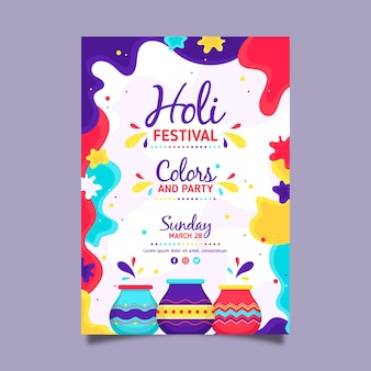Flache design holi festival flyer vorlage