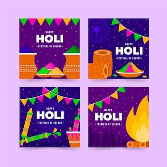 Flache design holi festival instagram beiträge