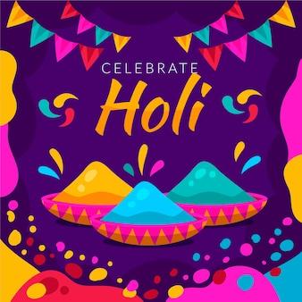 Flache design holi festival pulver illustrationen