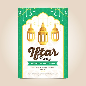 Flache design iftar einladungsschablone