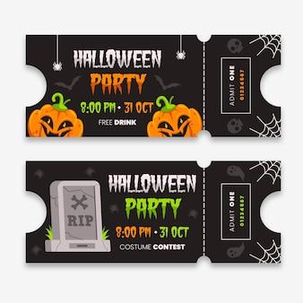 Flache design illustrierte halloween-tickets
