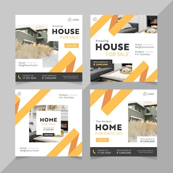 Flache design immobilien instagram beiträge