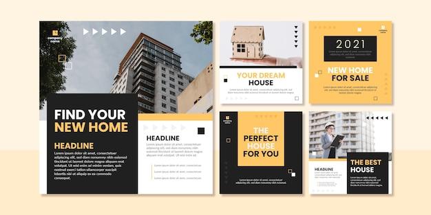 Flache design immobilien instagram beiträge Kostenlosen Vektoren