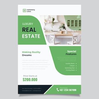 Flache design-immobilienplakatschablone mit foto
