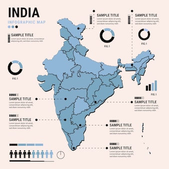 Flache design indien karte infografiken