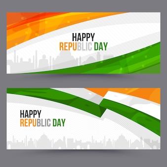 Flache design indische republik tag banner vorlage