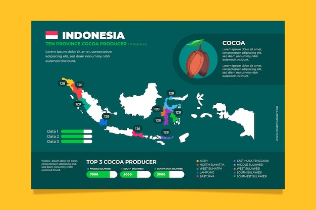 Flache design indonesien karte infografiken vorlage