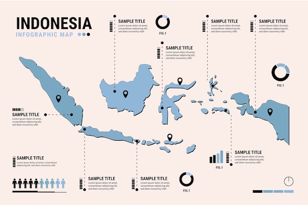 Flache design indonesien karte infografiken