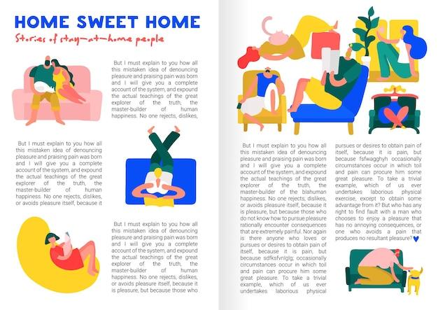 Flache design-infografiken mit textfeld und menschen, die auf bequemen möbeln zu hause bleiben und ruhen