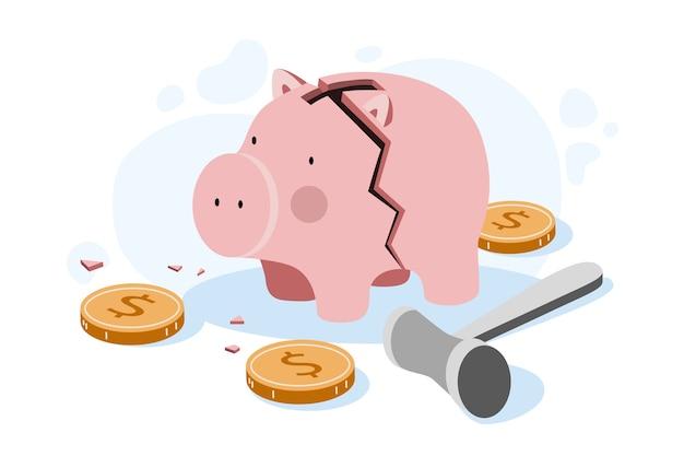 Flache design-insolvenz mit gebrochenem sparschwein
