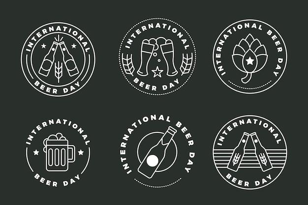 Flache design internationale biertag abzeichen sammlung