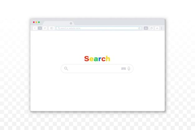 Flache design-internet-browser-vorlage auf dem transparenten hintergrund. einfaches browserfenster. bildschirmmodell für webvorlagenfenster. interface-webbrowser, internet leere seite für das web.
