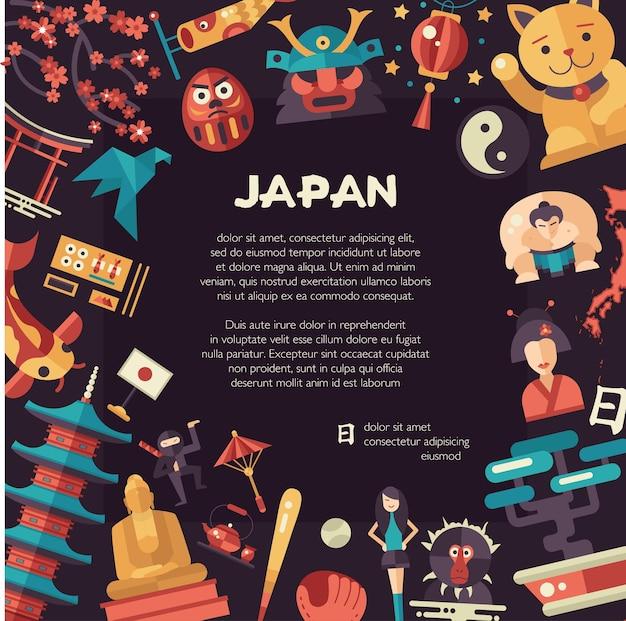Flache design-japan-reisepostkarte mit wahrzeichen, berühmten japanischen symbolen