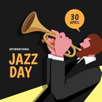 Flache design-jazz-tagesillustration des musikers