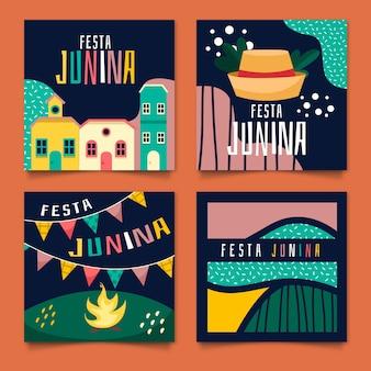 Flache design juni festival karten