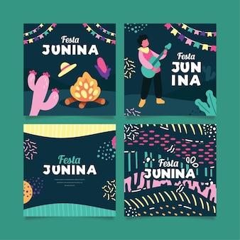 Flache design juni festival kartensammlung