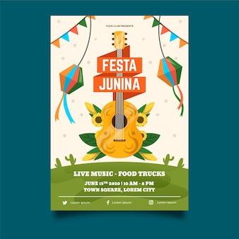Flache design juni festival poster vorlage