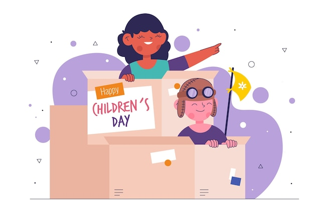 Flache design-kindertagesillustration mit kindern