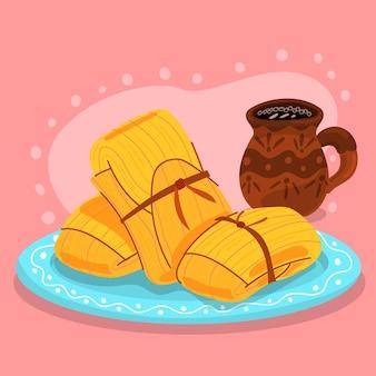 Flache design köstliche tamales