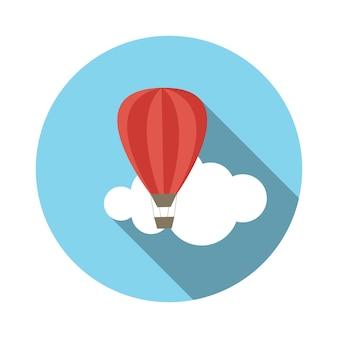 Flache design-konzept-ballon-vektor-illustration mit langem schatten. eps10
