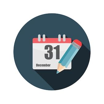 Flache design-konzept-kalender-vektor-illustration mit langem schatten. eps10