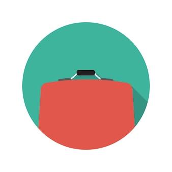 Flache design-konzept-koffer-vektor-illustration mit langem schatten. eps10