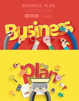 Flache design-konzepte für business-plan-analyse und planung