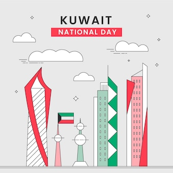 Flache design kuwait national day wolkenkratzer