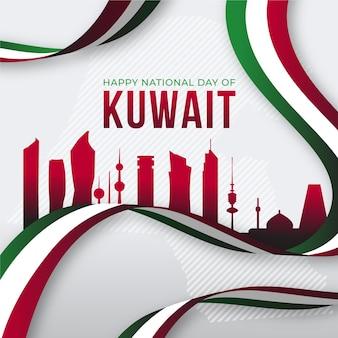 Flache design kuwait nationalfeiertag rote stadt