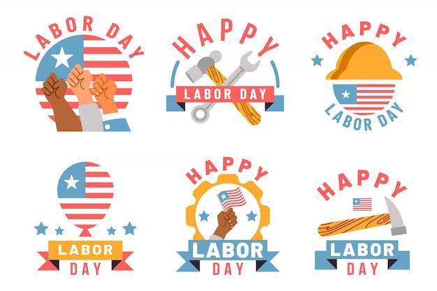 Flache design labor day label sammlung