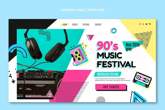 Flache design-landingpage für das musikfestival der 90er jahre