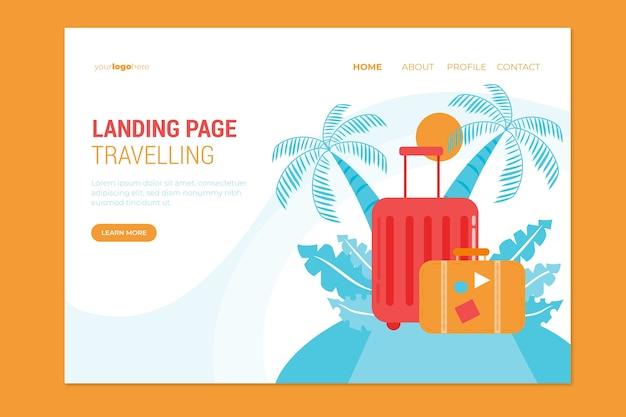 Flache design-landingpage-vorlage reisen