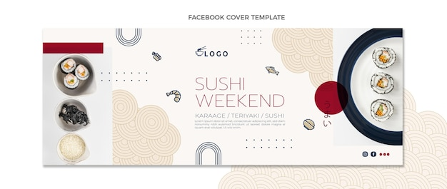 Flache design-lebensmittel-facebook-cover-vorlage