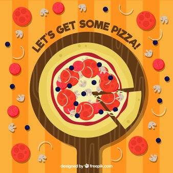 Flache design leckere pizza hintergrund