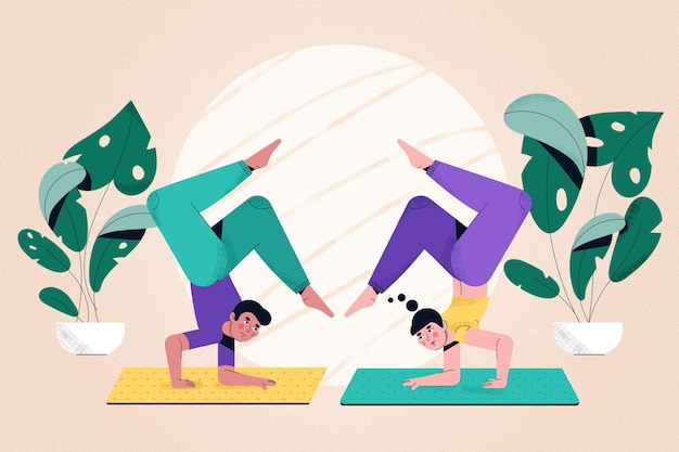 Flache design-leute, die yoga machen