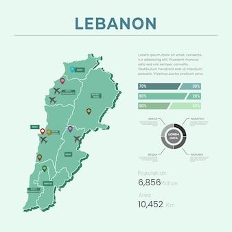Flache design libanon karte