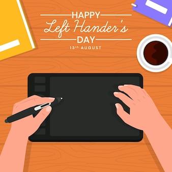 Flache design-linkshänder-tagesillustration mit grafiktablett