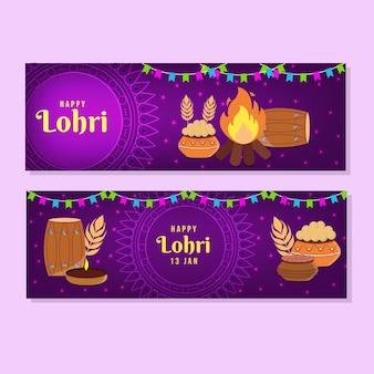 Flache design lohri banner vorlage