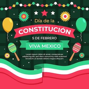 Flache design mexiko verfassung tag tapete