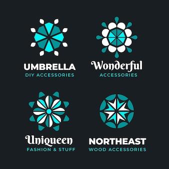 Flache design-modeaccessoires-logo-sammlung