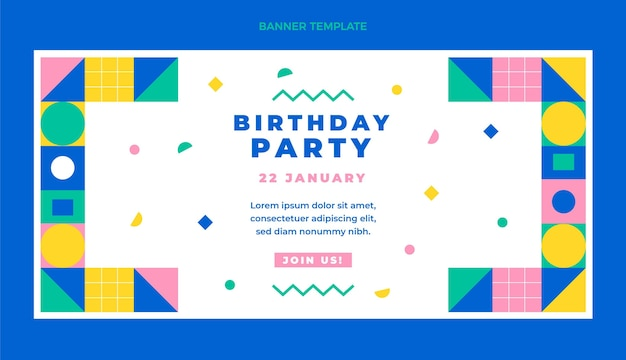 Flache design-mosaik-geburtstags-verkaufs-banner-vorlage