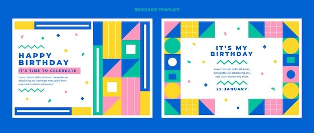 Flache design-mosaik-geburtstagsbroschüre-vorlage