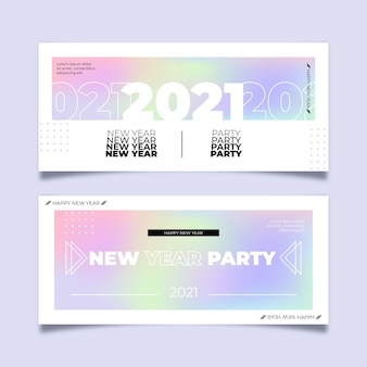 Flache design neujahr 2021 party banner vorlage