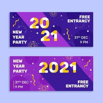 Flache design neujahr 2021 party banner vorlage