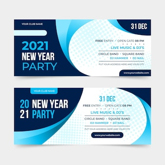 Flache design neujahr 2021 party banner