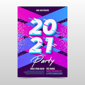 Flache design neujahr 2021 party flyer vorlage