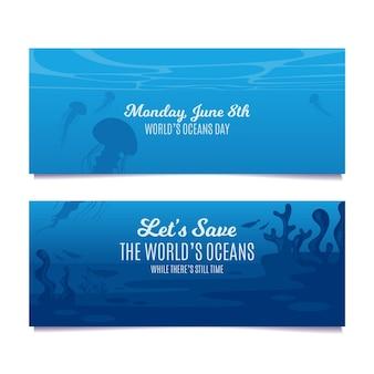 Flache design ocean day banner vorlage