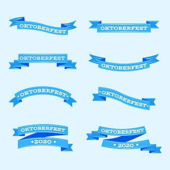 Flache design oktoberfest bänder sammlung