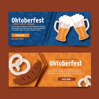 Flache design oktoberfest banner