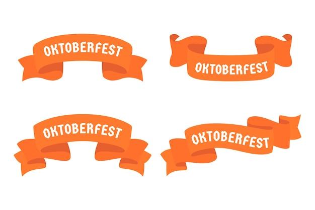 Flache design oktoberfest bier festival rote bänder Premium Vektoren